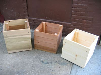 easy wooden planter... paint them bright colors!