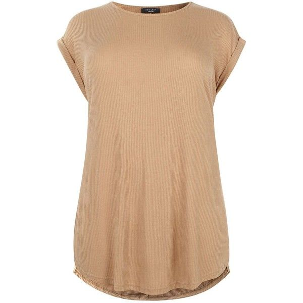 Plus Size Camel Side Split Ribbed T-Shirt ($20) ❤ liked on Polyvore featuring tops, t-shirts, tees, tan, beige top, beige t shirt, plus size tops, ribbed tee and camel top