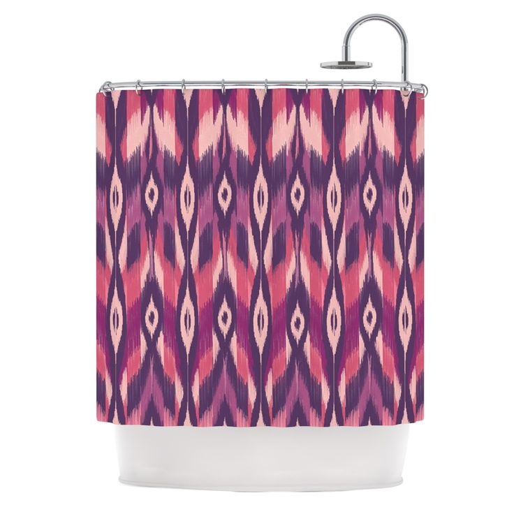 "Amanda Lane ""Purple Ikat"" Pink Lavender Shower Curtain"