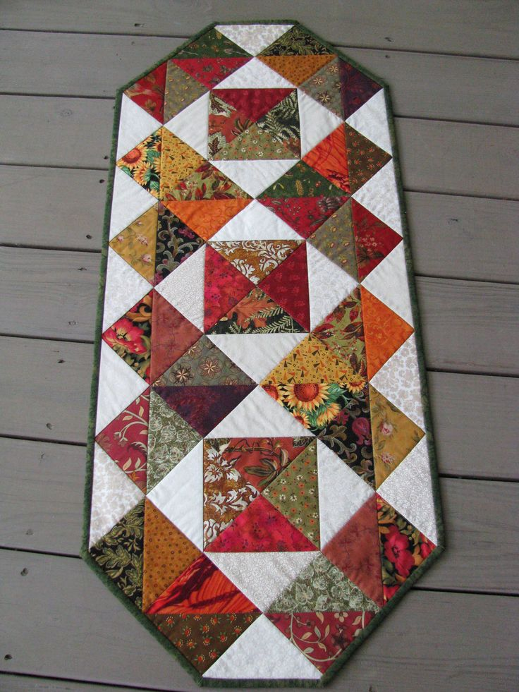 "Quilted Table Runner - keeping just the ""hearts"" on this and doing in RED and White would make a nice Valentine runner"