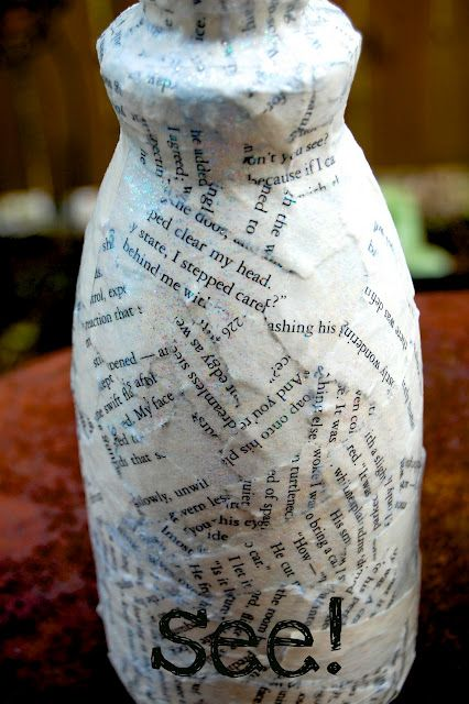 DIY Anthropologie Bottles- Use an old book and an empty bottle of coffee creamer:-)