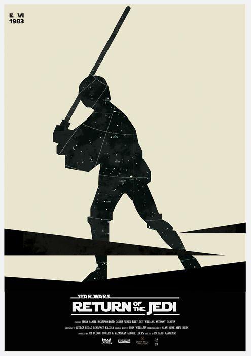 Return Of The Jedi minimalist poster by Måsse Hjeltman