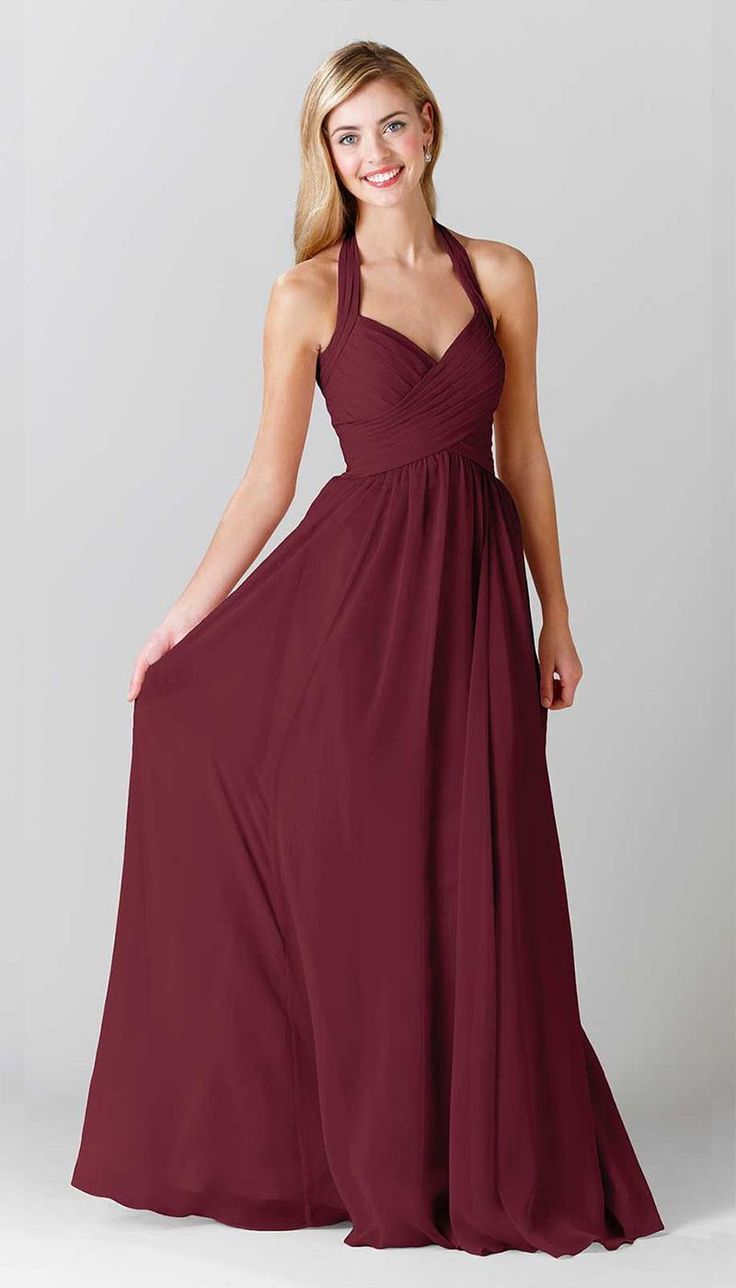 Best 25 halter bridesmaid dresses ideas on pinterest champagne a long red bridesmaid dress with a halter neckline featured in claret kennedy ombrellifo Image collections