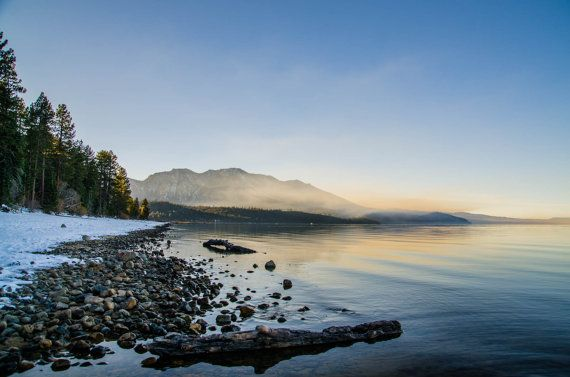 Taken in mid-November 2015 right as Fall weather gives way to Winter snow, a beautiful foggy beach in South Lake Tahoe, California | Meghan Smolka Photography