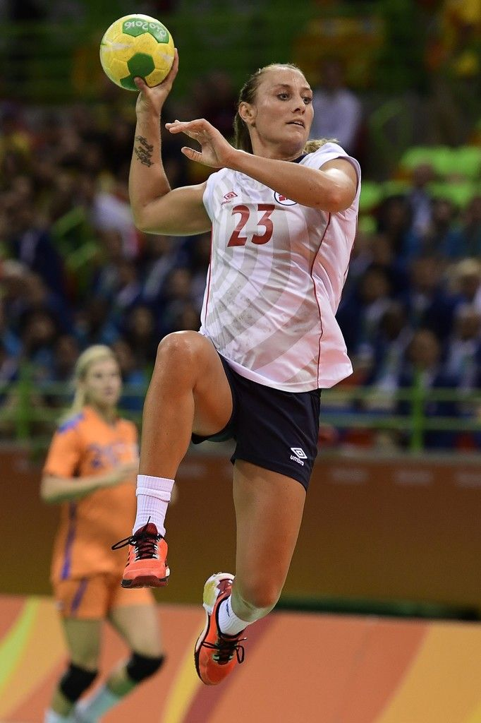 Norway's left wing Camilla Herrem jumps to shoot during the women's Bronze Medal handball match Netherlands vs Norway for the Rio 2016 Olympics Games at the Future Arena in Rio on August 20, 2016. / AFP / afp / JAVIER SORIANO