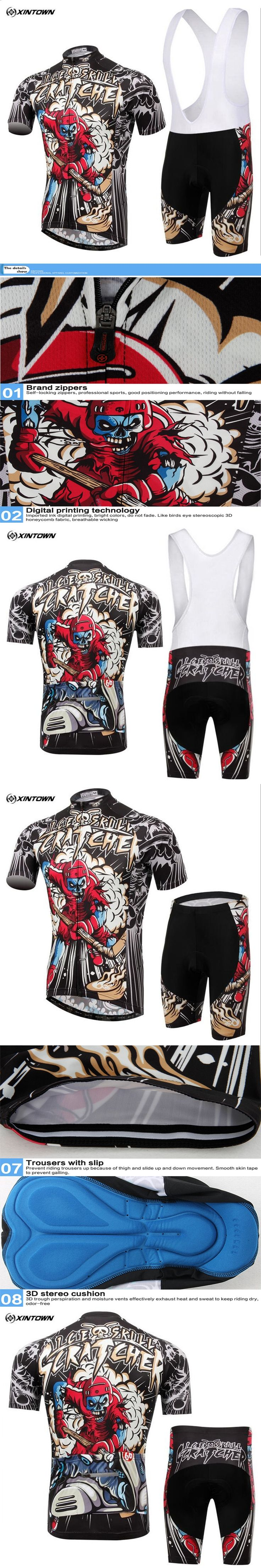 2017 Summer Skeleton Soldier Cycling clothes Cycling Jersey set Mountain Bicycle Wear Racing Bike Clothing Ropa Conjunto