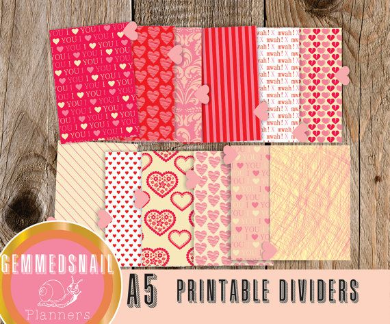 A5 Planner dividers, printable planner dividers in a Love theme, with love heart tabs (plus top and bottom tabs)