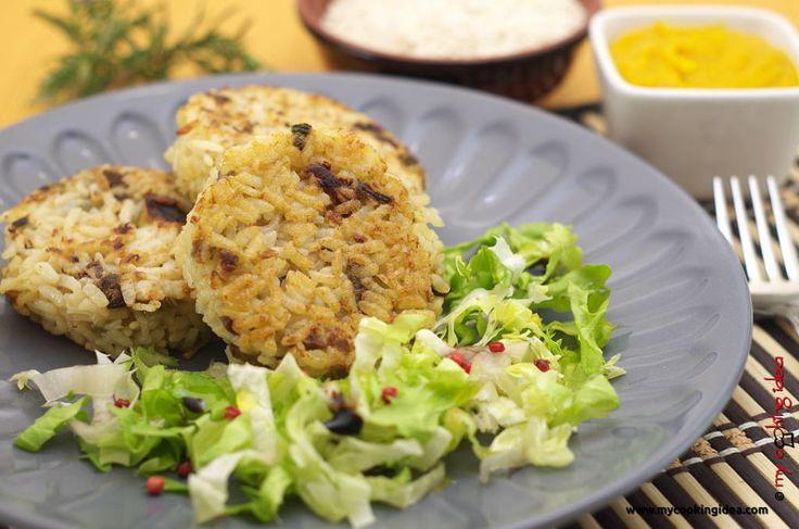 Medaglioni di riso con funghi e crema di carote - My Cooking Idea http://www.mycookingidea.com/2014/03/medaglioni-di-riso-con-funghi-e-crema-di-carote/