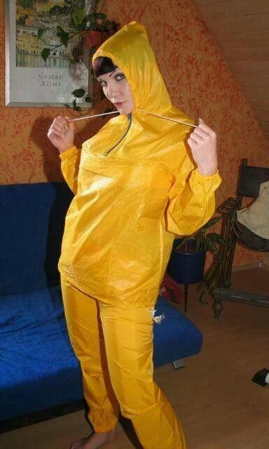 Yellow nylon rainsuit