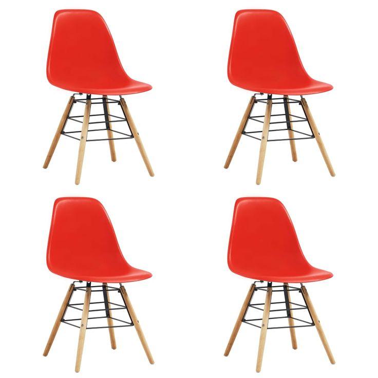 Esszimmerstuhle 4 Stk Rot Kunststoff Esszimmerstuhle Esszimmerstuhl Stuhle