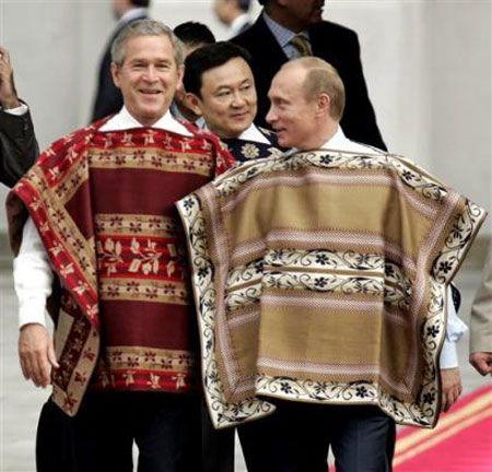Putin in a poncho
