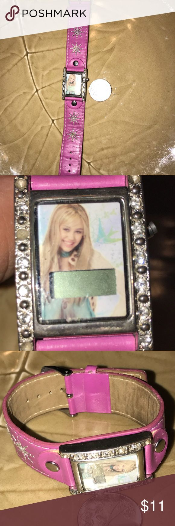 """hannah montana watch(needs new battery) hannah montana adjustable watch; good condition; missing some rhinestones around watch face as pictured; 9"""" lying flat; purple-ly/pink berry color hannah montana Accessories Jewelry"""