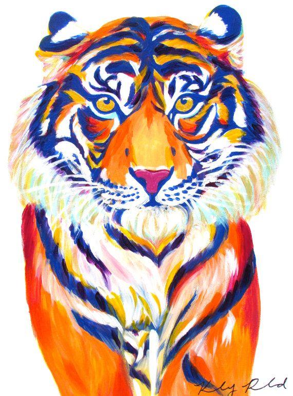 Orange Blue/Purple Tiger Original Painting by CreatedbyKelseyArt on Etsy! Colorful animal painting