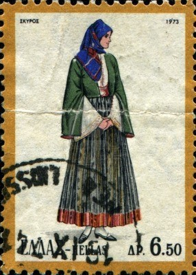 Greek Postage Stamp, circa1973 Traditional Costume Skyros