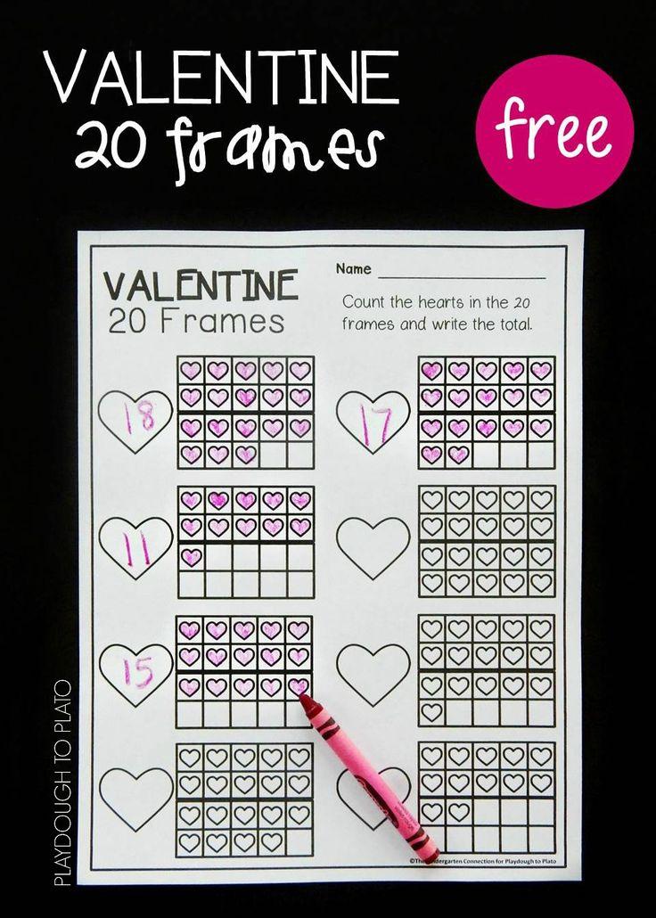 Free Valentine's Day ten frames. Fun math center or math activity for Valentine's Day.