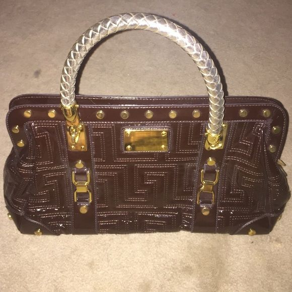 Awesome Greek Key Designer Handbag - Like New! Lovely dark brown and gold designer inspired handbag purse. Like new condition.  No trades, No PP.  All reasonable offers accepted - use the Make Offer button! Bags Satchels