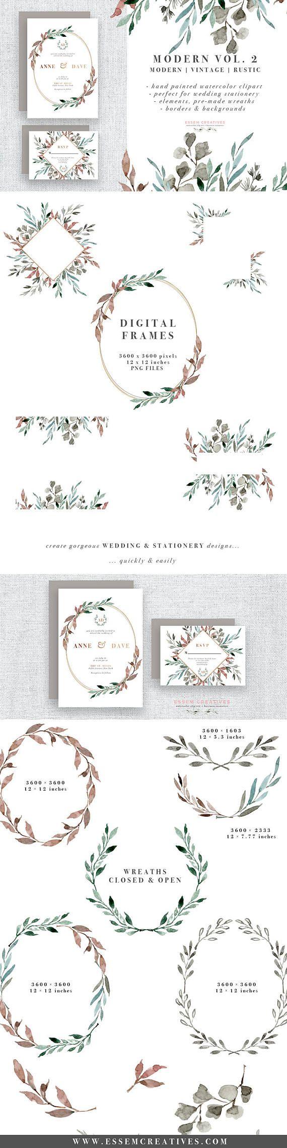 Clipart de guirlande de feuilles aquarelle, feuilles de verdure, faire-part de mariage aquarelle, Clipart hiver, cadre floral vintage moderne rustique & frontières   – Wedding
