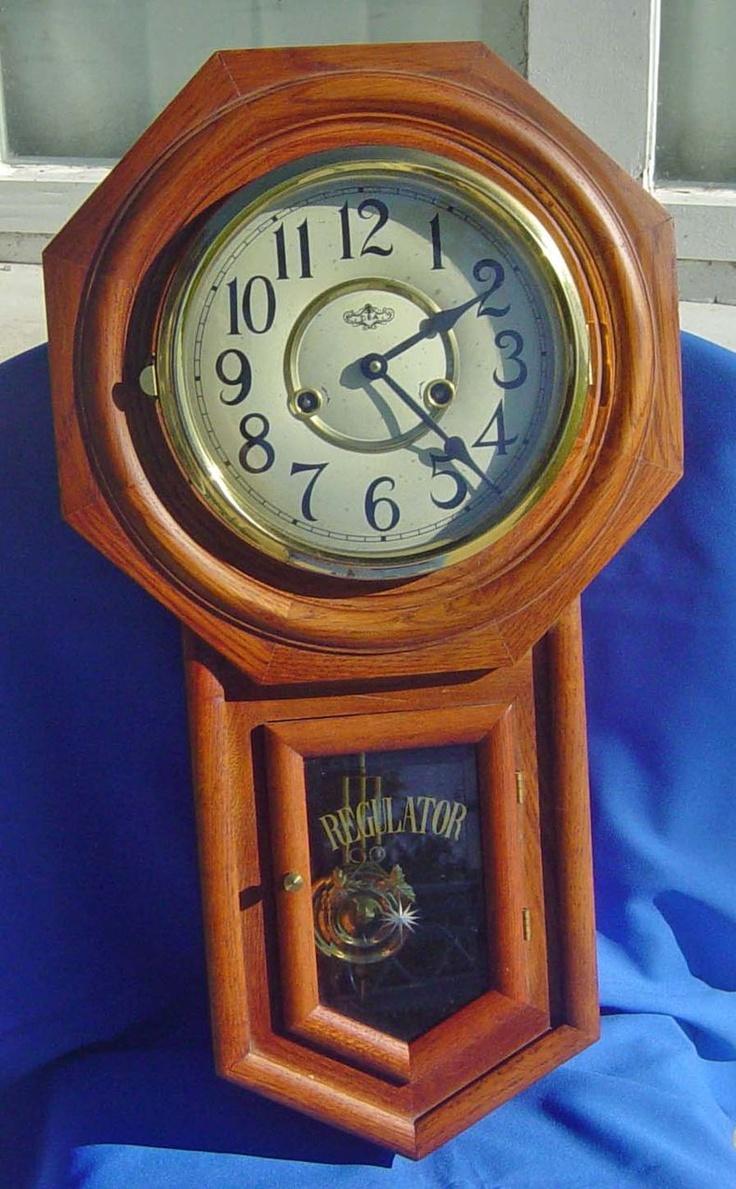 d a regulator style oak finish wall clock wall clock on wall clocks id=52269