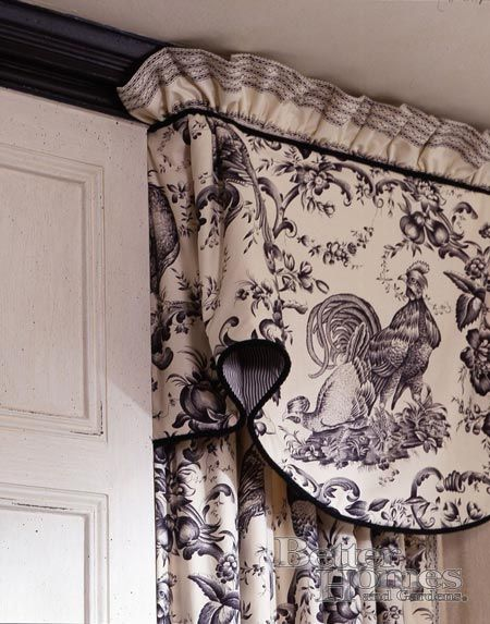 French Country window treatment. Love, love, love.