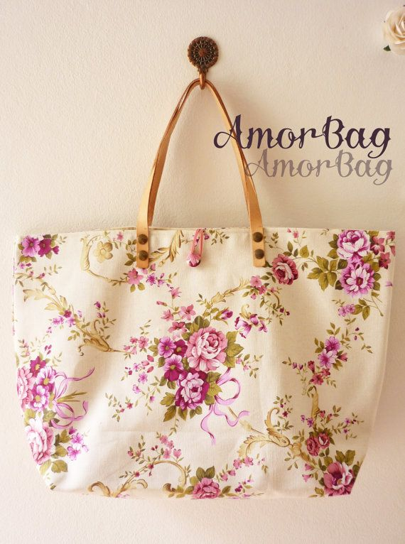 Floral Tote Bag Canvas Bag Floral Bag Bridal by blissfulscenery, $25.00