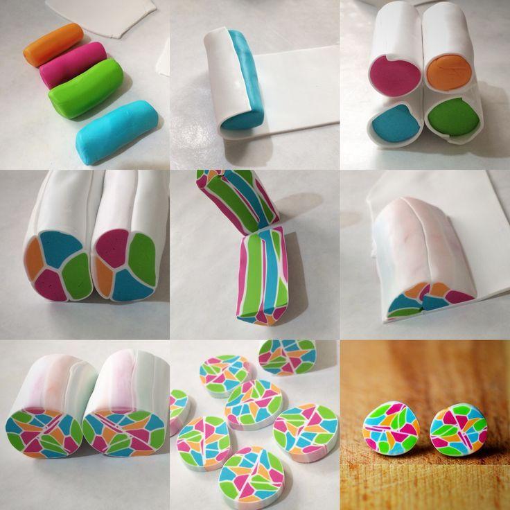 Eine Collage aus der Herstellung dieser Ohrringe aus Polymerton-Mosaik! Ich habe es geliebt, zu machen