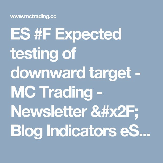 ES #F Expected testing of downward target - MC Trading - Newsletter / Blog Indicators eSignal Trade Station Forex Stock Market Commodities Futures