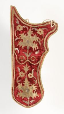 Quiver (Arrow case). Date: early 17th century. Place of production: Turkey (Ottoman Empire). Materials: embroidered with gold thread; velvet; leather; embroidered with silver thread. Dimensions: length - 44cm, width - 21cm, depth - 5cm. Museum of Applied Arts