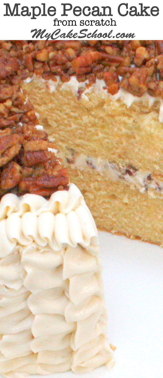 YUM! Moist and Flavorful Maple Pecan Cake with Maple Buttercream! So delicious! MyCakeSchool.com.