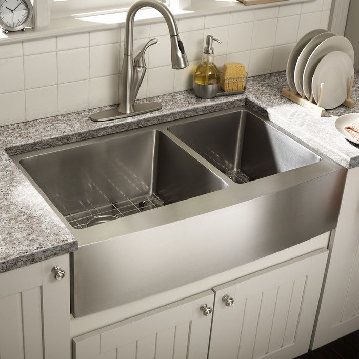 "Schon Farmhouse 36"" x 21.25"" Undermount Double Bowl Kitchen Sink & Reviews | Wayfair"