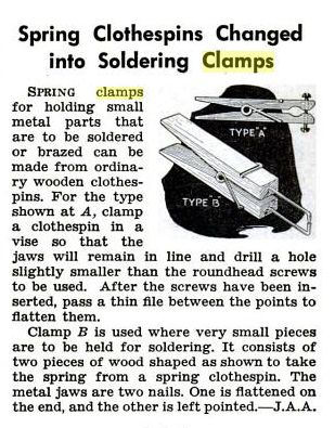 Spring Clothespins Changed into Soldering Clamps, Popular Science, circa November 1940, page 218