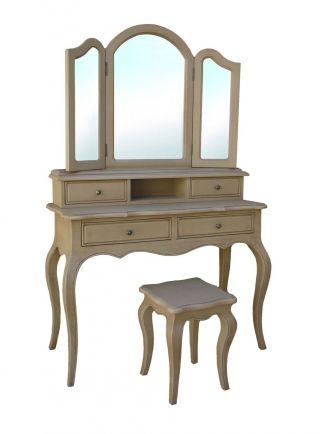 Masă de toaletă prevăzută cu oglindă şi sertare pentru cosmeticale şi giuvaeruri. Părţile laterale ale oglinzii pot culisa, după cum dictează dispoziţia matinală a doamnei.