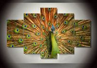 2016 Top-rate Quality Wall Art Peacock Oil Painting By Numbers Canvas Prints Home Decoration For Living Room Unframed 5 Pieces