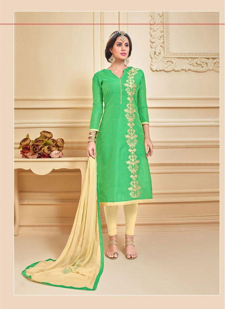 Blissful Lace Chanderi Cotton Cream and Green Decent Indian Salwar Kameez