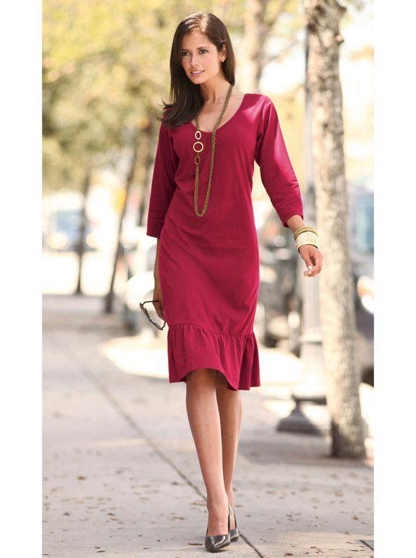 Vestido de mujer en punto 100% algodón con volante en el bajo 0b05197c347d