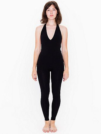 Form-fitting cotton/spandex catsuit with halter top, low V-neck and open back.