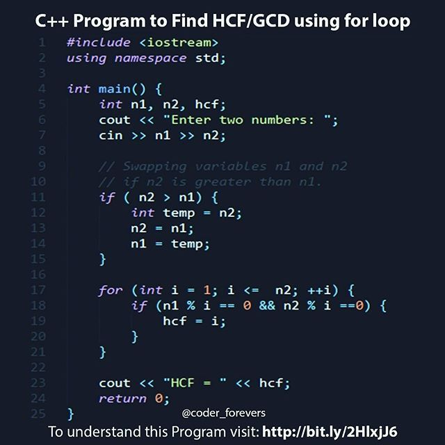 C Program To Find Hcf Gcd Using For Loop Program To Find Gcd Examples Of Different Ways Programing Knowledge Computer Programming Languages Learn Programming