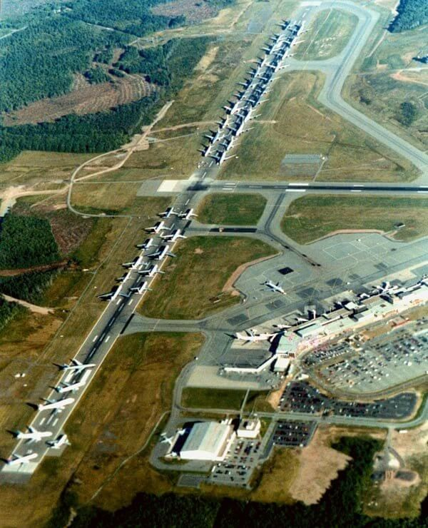 'Operation Yellow Ribbon' Aerial View Of Planes Grounded
