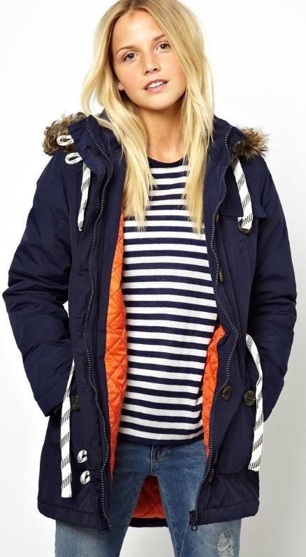 Bellfield Parka Jacket With Faux Fur Trim Hood  ASOS