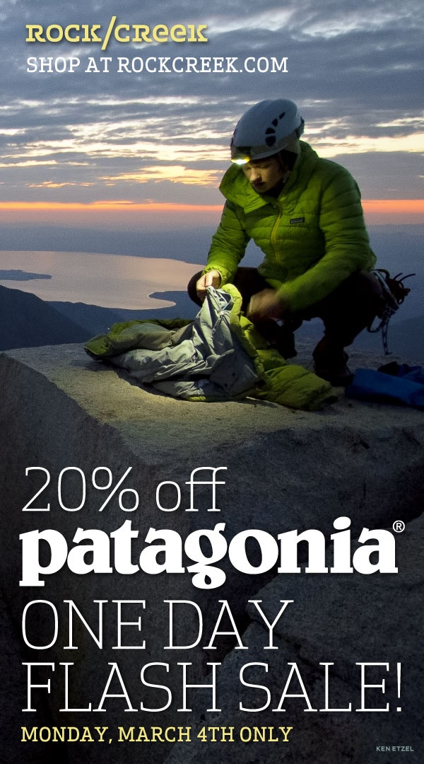 Today ONLY: 20% off new Patagonia spring styles: http://www.rockcreek.com/patagonia-sale.rc?utm_source=pinterest_medium=social_campaign=patagonia-closeout ends midnight 03/04/13