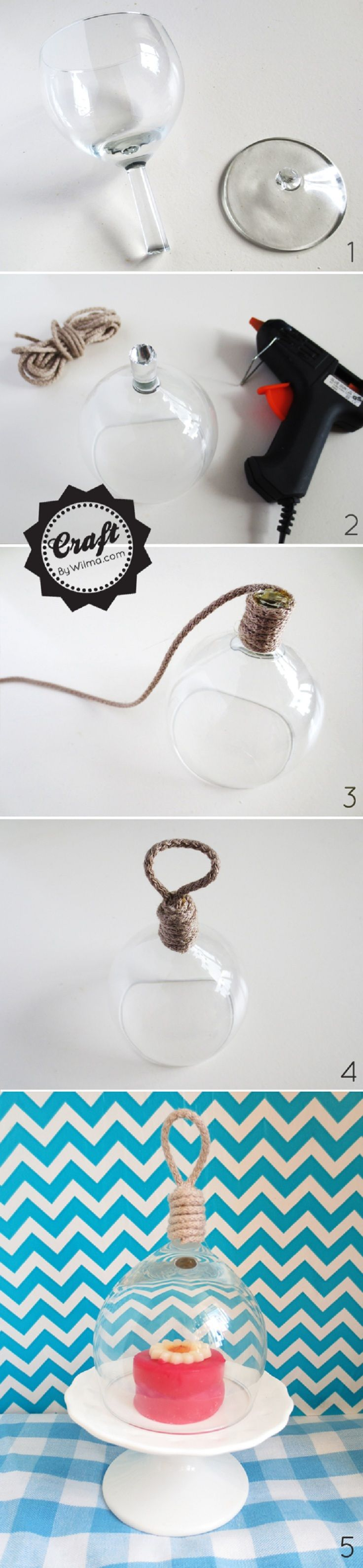 A faire soit même : une mini cloche de présentation avec un verre à vin cassé - DIY Mini Bell Jar From a Broken Wine Glass