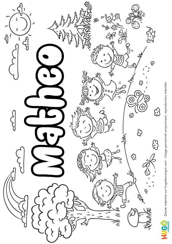 Coloriage Baleine Hugo Lescargot.Coloriage Et Illustration Du Prenom Matheo Le Prenom Est Ecrit Dans