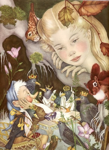 One of the most magical books when I was a chlld- Adrienne Segur...this is from the Golden Book of Fairy Tales...these now go for about $200 on ebay.