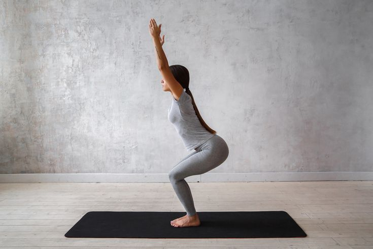 The chair is like holding a squat, so it really gets your quads, hamstrings, and calves burning. And since it activates such large muscle groups, the chair pose is great for burning calories.