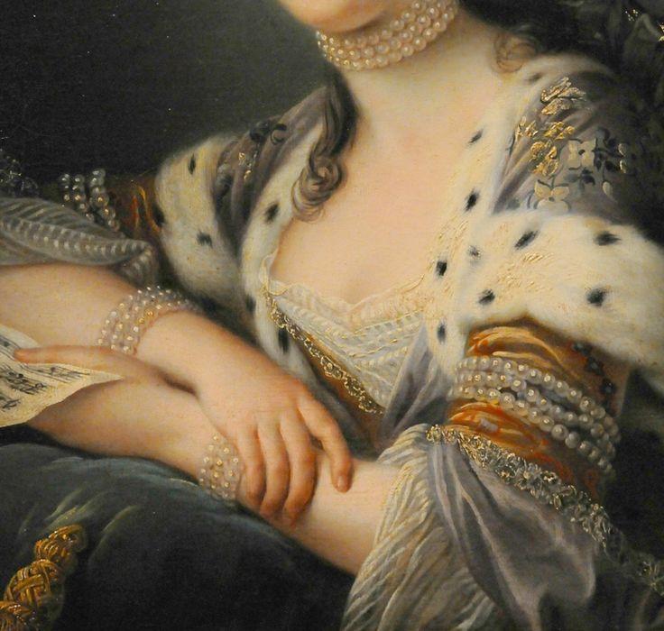 Fabulous pearls.  Detail from  Mlle. de Romans en turque, 1762, by François Hubert Drouais, Museum of Fine Arts, Boston.