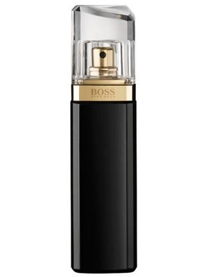Hugo Boss Nuit Pour Femme  Top notes  White Peach & Water Chords.  Heart notes  Jasmine, Violet & White Flowers.  Base notes  Warm wood, moss and sandalwood.