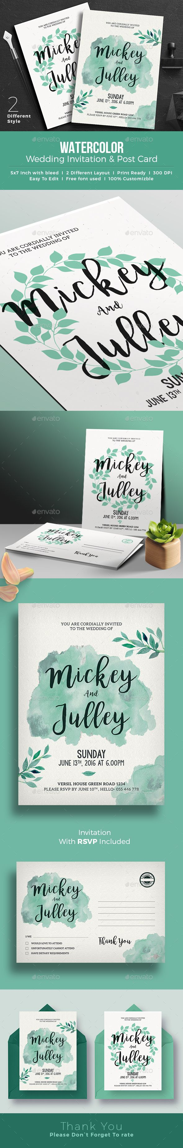 wedding invitation design psd%0A Water Color Wedding Invitation Post Card PSD Template   Trendy Modern Design    Save The Date