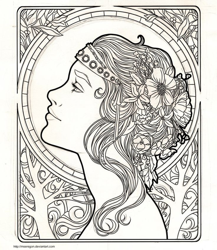i really wanted to try doing something art nouveau ish ive been working on this for a while im coloring it now but i want to take my time - Art Nouveau Unicorn Coloring Pages