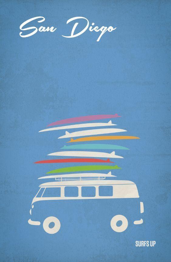 Surf San Diego VW camper travel poster  #surfboards
