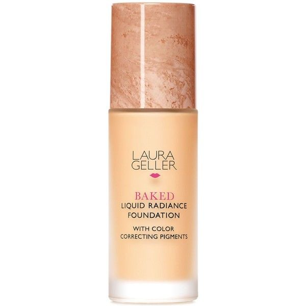 Laura Geller Baked Liquid Radiance Foundation ($38) ❤ liked on Polyvore featuring beauty products, makeup, face makeup, foundation, beauty, faces, fair, moisturizing foundation, laura geller foundation e laura geller
