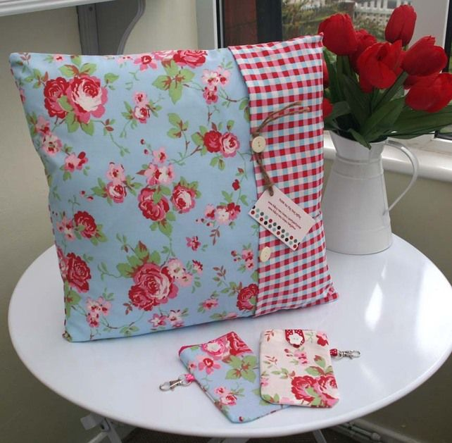 CUSHION COVERS red white blue Rosali Cath kidston Fabric SHABBY CHIC 16 X 16 40 £9.99